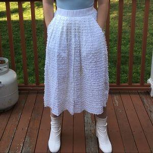 J. Crew White Midi Skirt